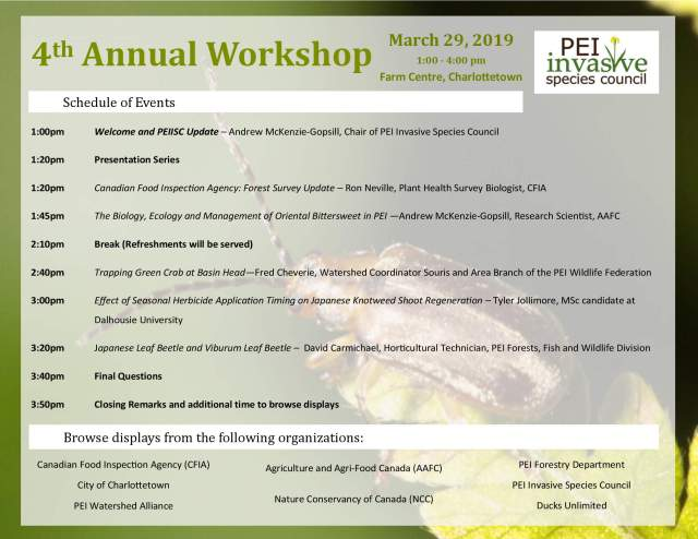 PEI ISC 4th Annual Workshop Schedule of Events 29 March 2019
